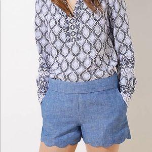 Loft scalloped chambray shorts 2 for $10